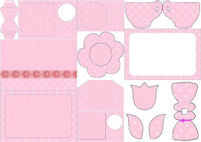 Rosa con Lunares Rosa: Invitaciones para Imprimir Gratis.