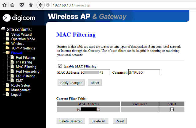 Filtraggio MAC Address accesspoint Digicom WaveGate 54r