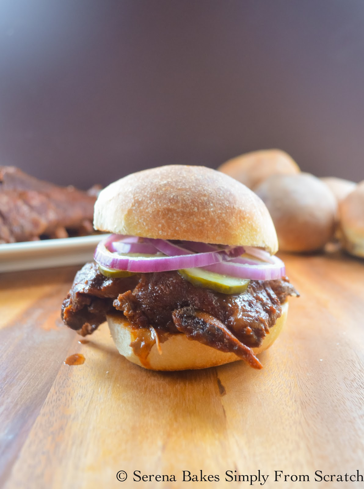 Crock Pot Baby Back Rib Sandwiches in Homemade BBQ Sauce