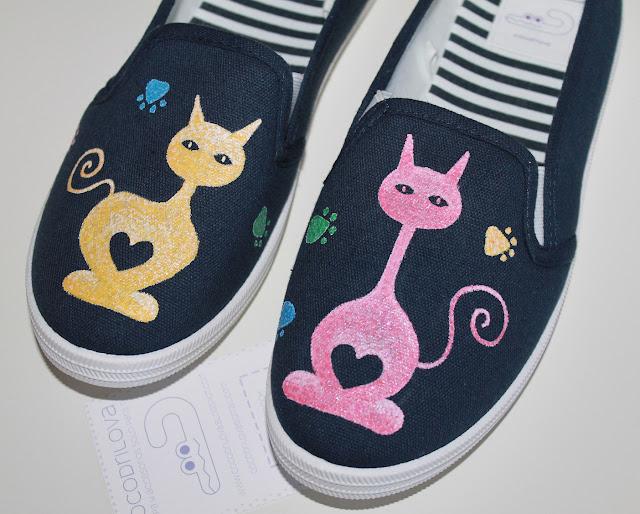 zapatillas pintadas a mano gatos