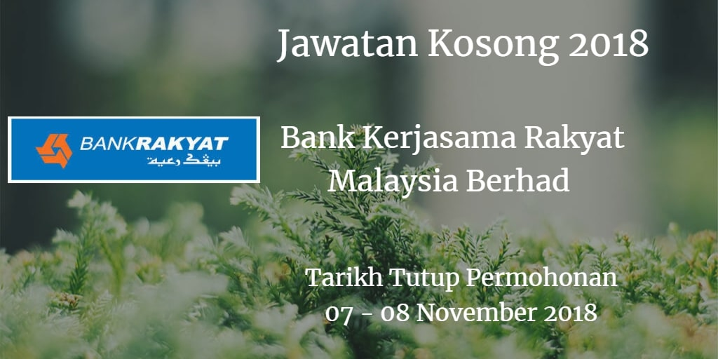 Jawatan Kosong Bank Kerjasama Rakyat Malaysia Berhad 07- 08 November 2018