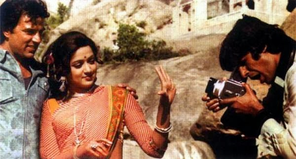 Sholay (1975) is an Indian adventure Hindi language film written by Salim-Javed and directed by Ramesh Sippy and produced by his father G.P. Sippy in 1975. The film is about two criminals Veeru and Jai hired by a retired police officer to capture the ruthless dacoit Gabbar Singh. The film is starred by Dharmendra, Amitabh Bachchan, Sanjeev Kumar, Hema Malini, Jaya Bhaduri, Amjad Khan and some others. Story: The film story is about two criminals hired by a police officer to capture a ruthless dacoit who has spoiled his family. This film story is influenced by many Indian and western film making styles. For example; there is a train robbery scene in this film. This idea has been taken influenced by an Indian film. The scholars have noted several themes in the film, for example; glorification of violence, conformation to feudal ethos, debate between social order and mobilized usurpers, homo social bonding and the film's role as a national allegory. Plot: A retired police officer Thakur Baldev Singh summons a pair of small time thieves that he had once arrested, in the small village of Ramgarh. Thakur thinks that the duo, Veeru and Jai would be the ideal persons to help him to capture Gabbar Singh a dacoit wanted by the authorities for a fifty thousand rupees reward. Thakur tells them to surrender Gabbar to him, alive, for an additional twenty thousand rupees reward. Soon afterwards, Gabbar and his goons attack Ramgarh during the festival Holi. In a tough battle, Veeru and Jai are cornered. Although, Thakur has a gun within his reach, but does not help them. Veeru and Jai fight back and the dacoits flee. The two are very upset at Thakur's inaction and consider leaving the village. Thakur explains that Gabbar Singh has killed his family members and cut off both of his arms. At last Jai and Veeru knew the reality. They returned back the money to Thakur and promised to help him without money. Living in Ramgarh, Veeru is attracted to Basanti, a feisty, talkative young woman