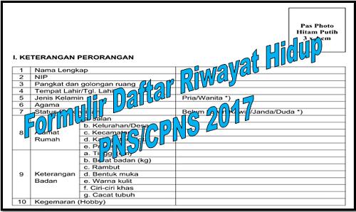 Formulir Daftar Riwayat Hidup PNS/CPNS Tahun 2017
