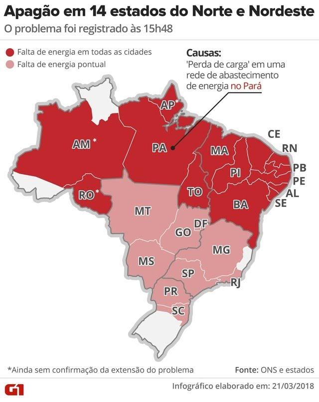 Apagão atinge estados do Norte e Nordeste; falha provocou reflexos em todas as regiões do país (Foto: Ingografia: Alexandre Mauro/G1)