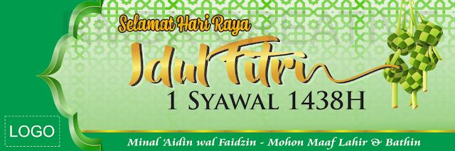 Contoh Spanduk, Banner ucapan Idul Fitri 2018 warna Hijau Ketupat