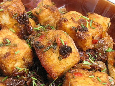 Paneer Cheese Cubes with Sun-Dried Tomatoes