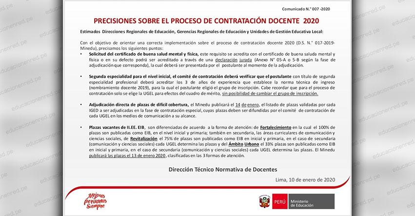 COMUNICADO N° 007-2020 - Precisiones sobre el proceso de Contratación Docente 2020 - Dirección Técnico Normativa de Docentes - MINEDU