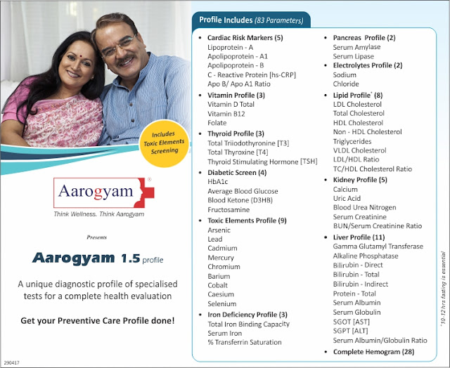 Aarogyam 1.5 Profile - Full Body Checkup @ Rs 1500 / 83 tests