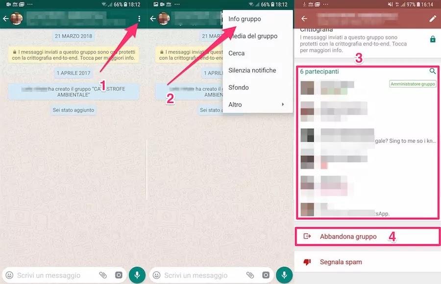 screenshot che mostra  i passaggi per cancellare un gruppo whatsapp su Android