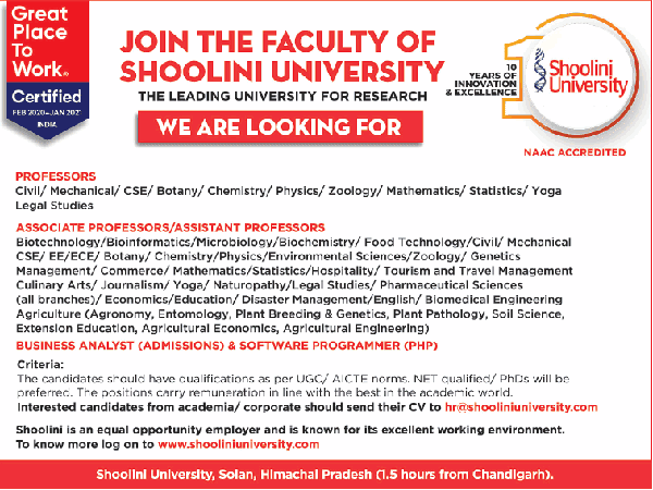 Shoolini University Life Sciences Faculty Jobs 2020