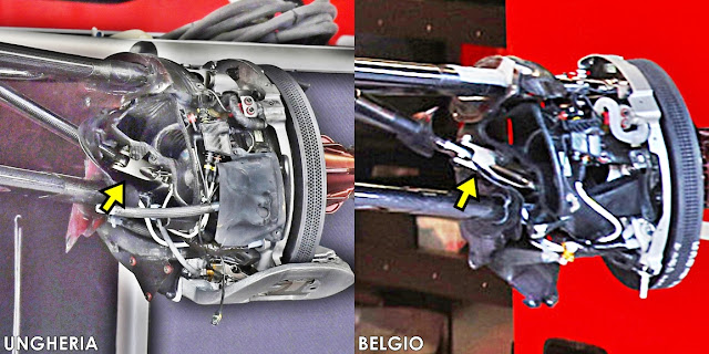 La configurazione Base e Evo del Pushrod On Upright sulla Ferrari SF70H 2017