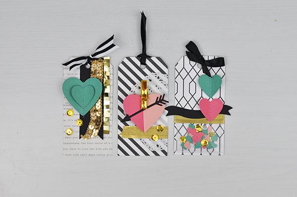 Die cut Valentine Tags with the DoCrafts Xcut Machine by Jen Gallacher. #docrafts #jengallacher #diecutting #papercraft #valentinecraft