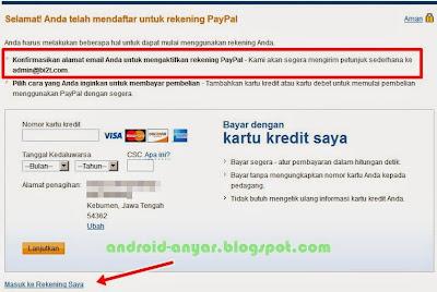 Mendaftar untuk rekening PayPal baru dengan alamat email