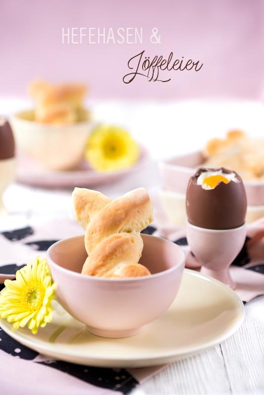 Hefehasen und Löffeleier zum Osterbrunch oder Frühstück zu Ostern