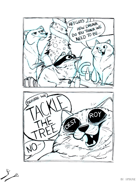 Coon Comic - Drunk Kitty Tree Destroyer