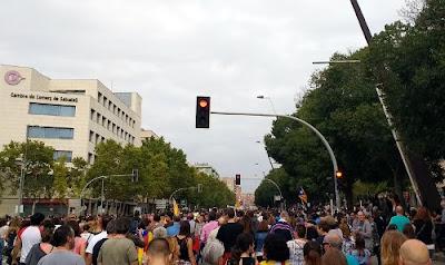 Manifestación en Sabadell durante el 3 de octubre para denunciar la violencia policial del 1 de octubre