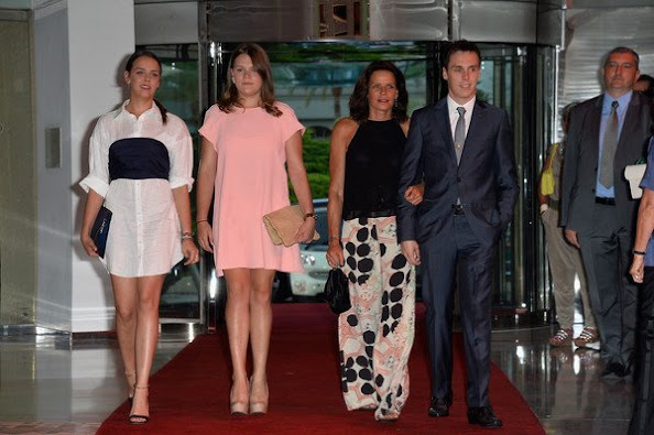 Prince Albert II of Monaco, Princess Caroline of Hanover, Princess Stephanie of Monaco, Andrea Casiraghi and his wife Tatiana Casiraghi, Camille Gottlieb and Pauline Ducruet and Louis Ducruet