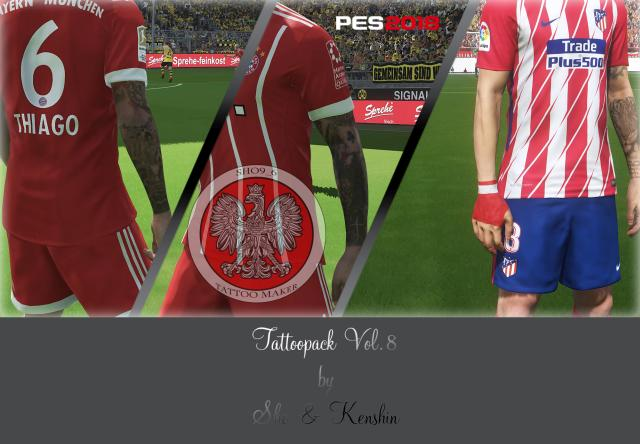 PES 2018 Tattoo Pack V8 dari Sho and Kenshin