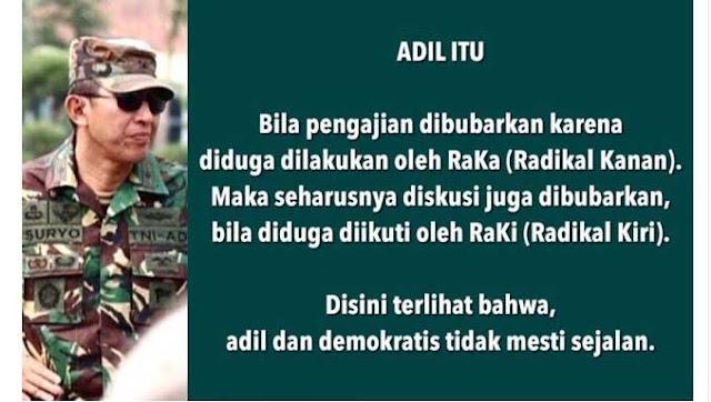 Letjend S Prabowo: Pengajian Dibubarkan, Diskusi Tak Penting Dilindungi, Ini Bikin Indonesia Gaduh