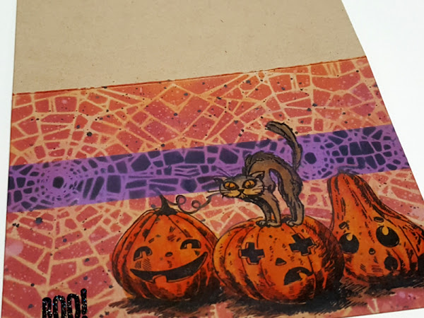 Silly Cat w/ Pumpkinhead Halloween Card - Stampers Anonymous