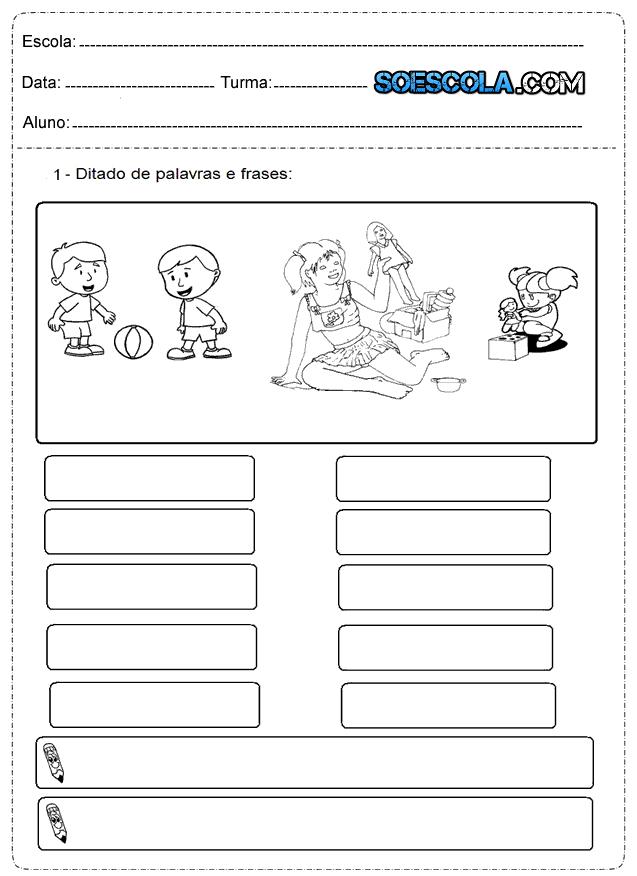 Atividades De Alfabetização Para Imprimir 1º Ano Só Escola