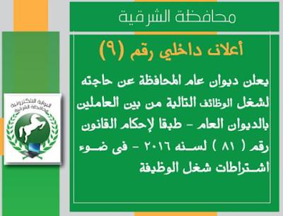 وظائف خالية بمحافظة الشرقية خلال اكتوبر 2018 وظائف حكومية