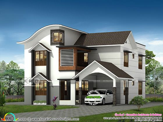 Beautiful 4 bedroom modern mix roof home design
