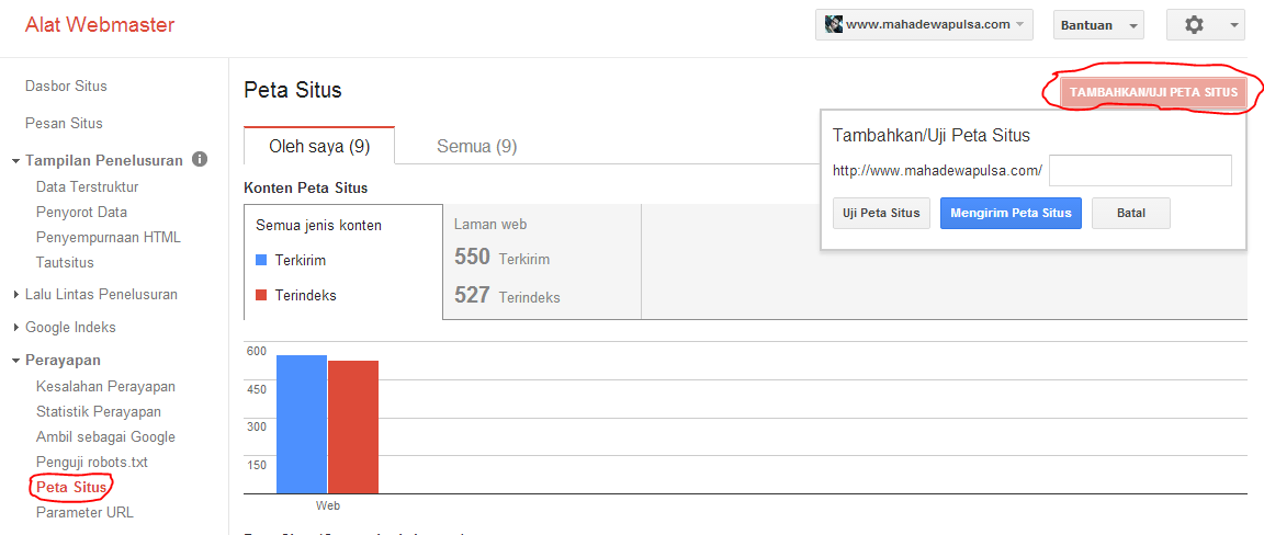 cara kirim peta situs google webmaster tools