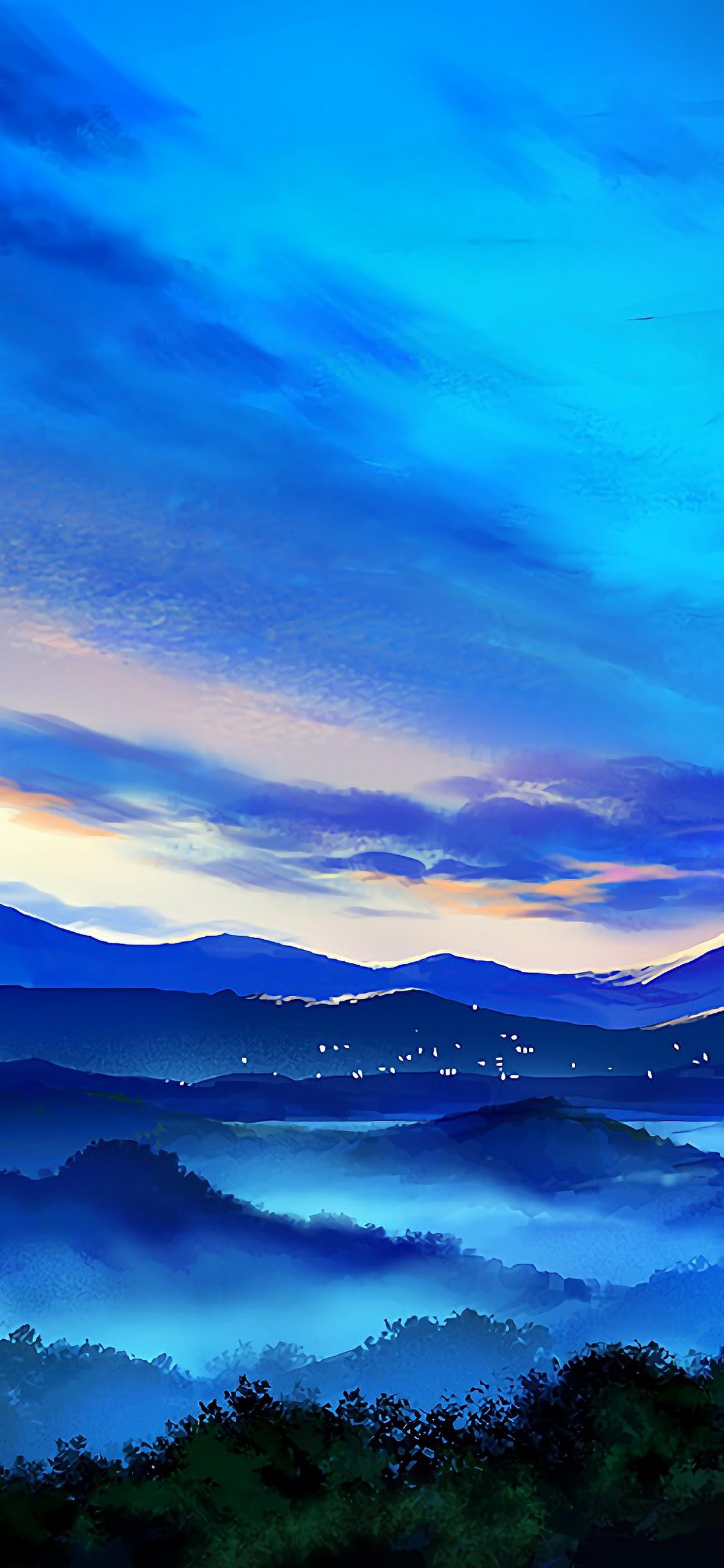 Anime Mountain Landscape Sunrise Scenery 4k Wallpaper 96