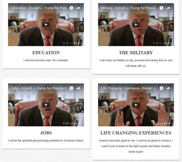 screen shot of Donald Trump's 'Issues' page, showing page as described above