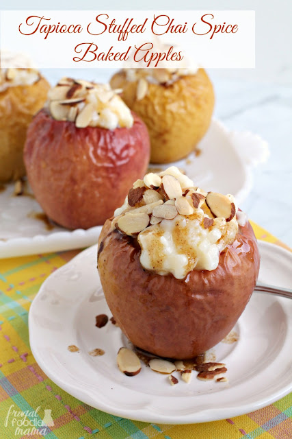 Tender baked apples are flavored with chai spices and filled with a creamy tapioca pudding in these Tapioca Stuffed Chai Spice Baked Apples.