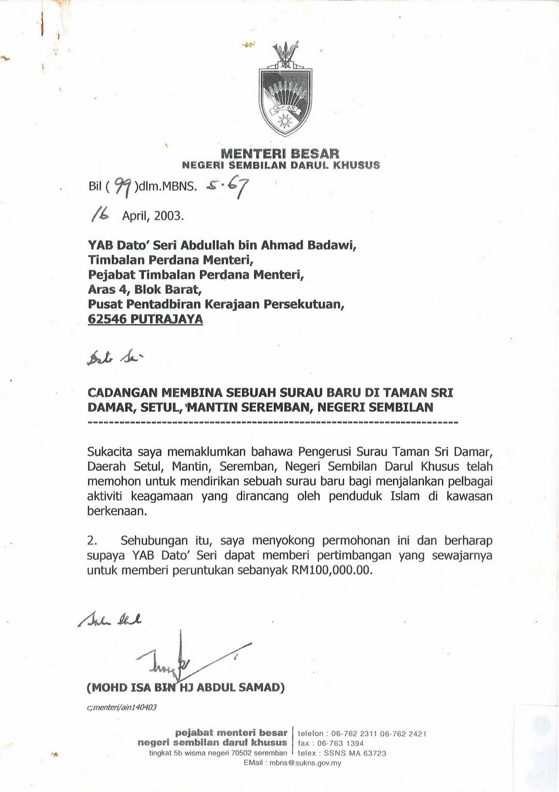 Surat Rasmi Kepada Menteri Besar Perak Crv Turbin