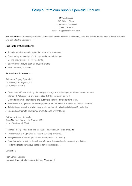 Petroleum Supply Specialist Sample Resume Unit Supply Specialist
