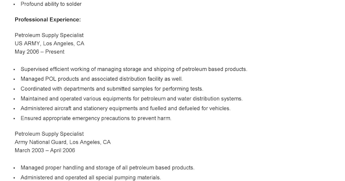 Petroleum Supply Specialist Sample Resume