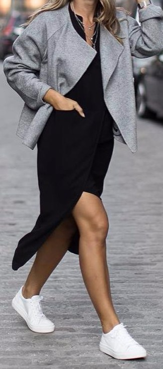 chic street style: black dress + white converse
