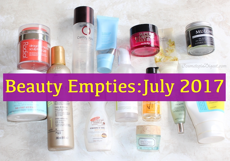 Beauty products I used up in July 2017, and my mini reviews.