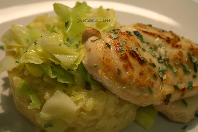 Celeriac and Potato Mash with Cabbage and Roasted Chicken