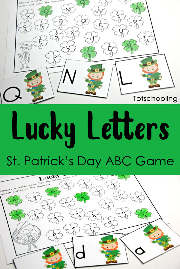 photo regarding Letter Recognition Games Printable named Fortunate Letters St. Patricks Working day ABC Activity Totschooling