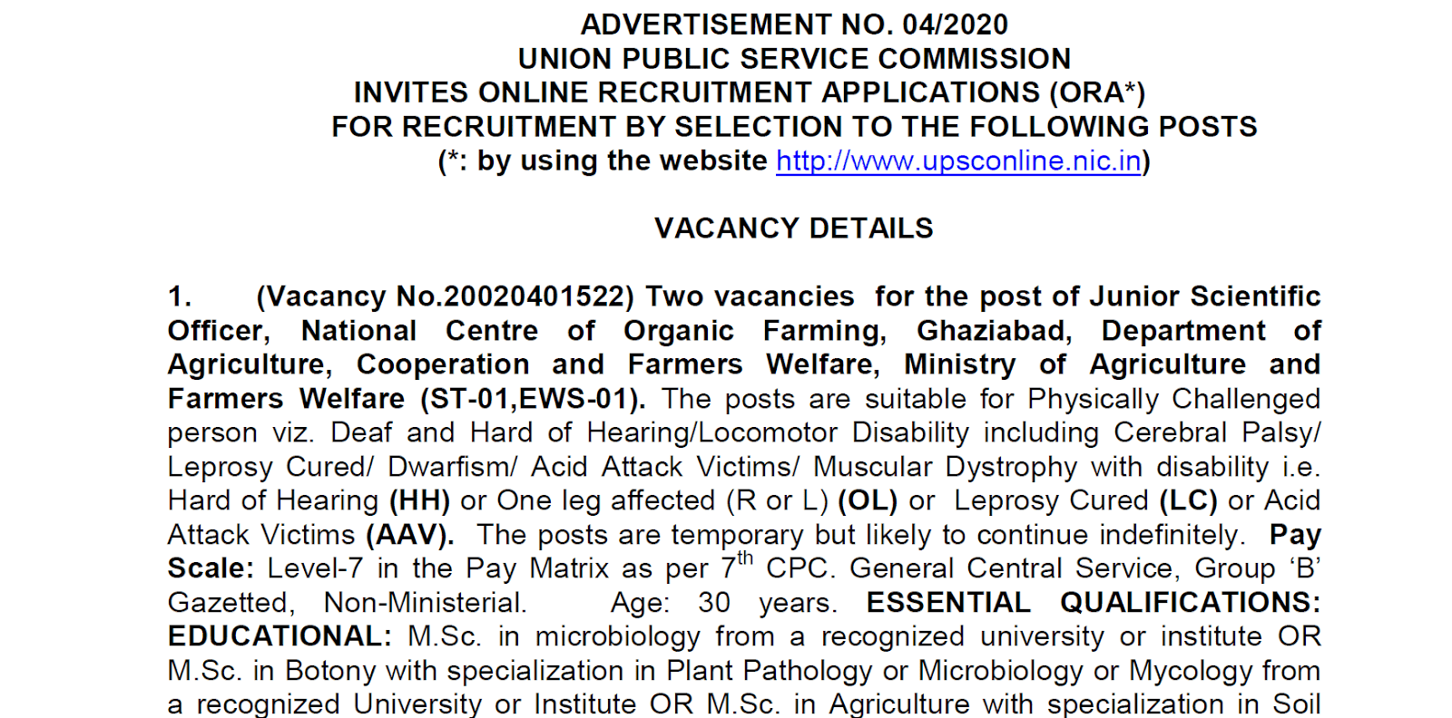 UPSC Various Jobs