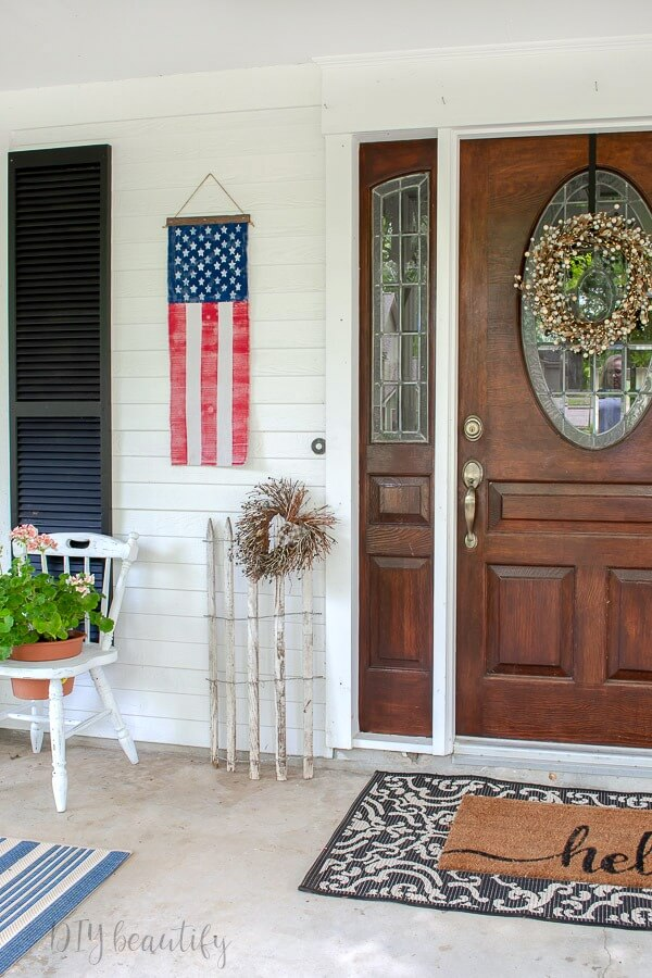 front porch with DIY flag banner