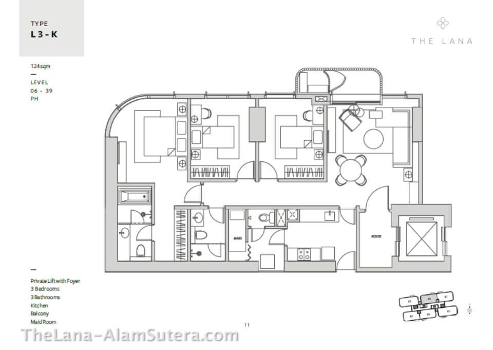 Type L3-K Apartemen The Lana Alam Sutera