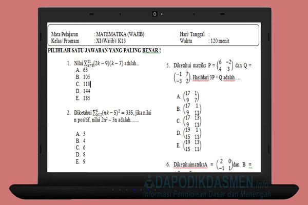 Soal PAT UKK Matematika SMA MA Kelas 11 Kurikulum 2013 Tahun 2019