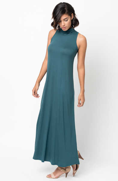 Shop for Hunter Green Sleeveless Turtleneck Collar Mock Neck Maxi dress online on caralase.com
