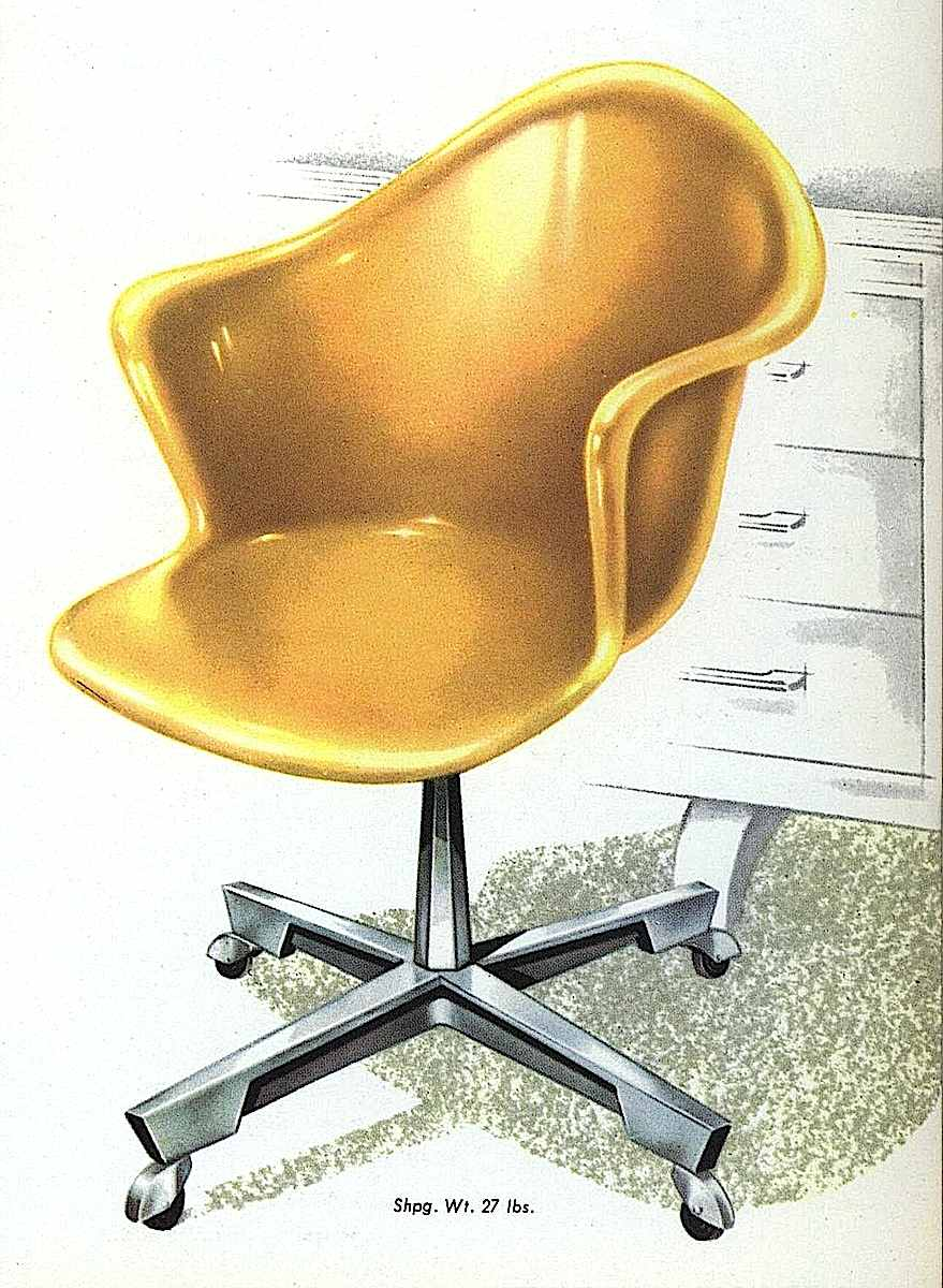 A 1959 amber molded plastic chair, color illustration