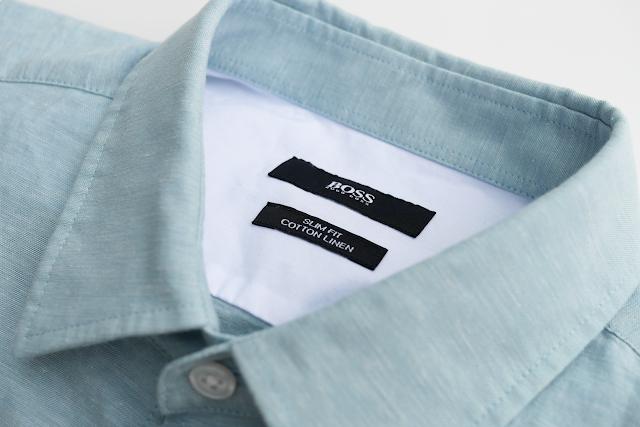 Hugo Boss blue cotton linen shirt