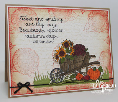 ODBD Seasons Change, ODBD Randi's Song, ODBD Sunflower Mini, ODBD Custom Wheelbarrow Die, ODBD Custom Grass Hill Die, ODBD Custom Pierced Rectangles Dies, Card Designer Angie Crockett