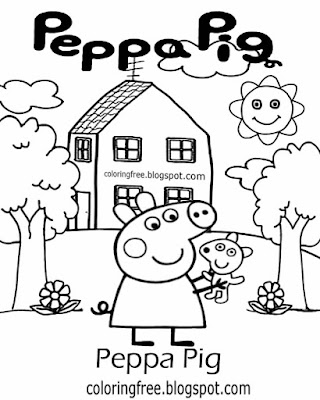 Pink piggy cartoon house hill top pre-school drawing ideas Peppa pig printable easy coloring sheet