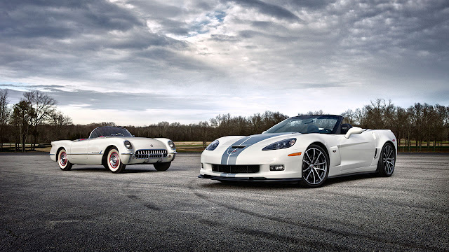 The first Chevrolet Corvette, the XP-122 Motorama concept car, and the latest model, the 2013 Corvette 427 Collector Edition convertible