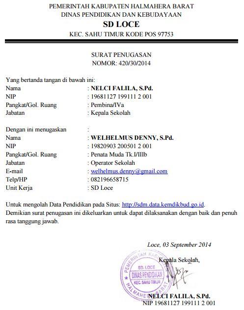 Contoh Surat Tugas Operator Sekolah Kelola Website Sd
