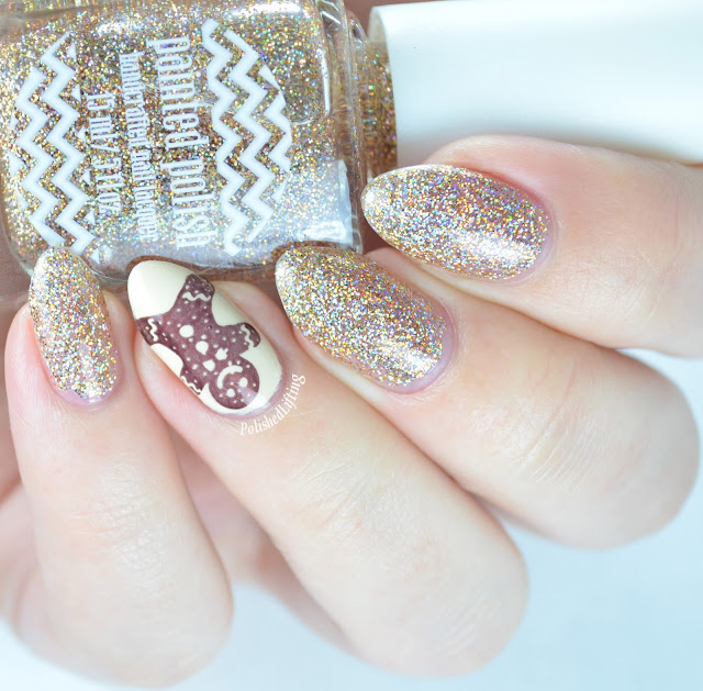 Painted Polish Blinded by Bubbly Zoya Jacqueline Sally Hansen Insta Dri Gingerbread nail art